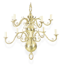 A BRASS TEN-LIGHT CHANDELIER,