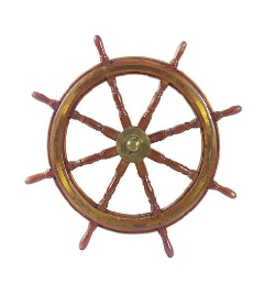 A MAHOGANY EIGHT SPOKE SHIP'S