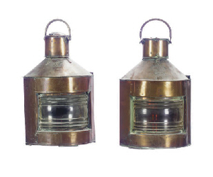 TWO COPPER 'PORT' AND 'STARBOA