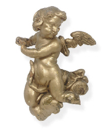 A GILTWOOD FIGURE OF A PUTTO,