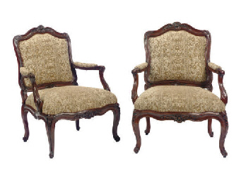 A LOUIS XV WALNUT FAUTEUIL, TO