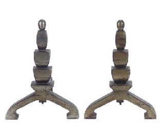 A PAIR OF SILVERED METAL ANDIR