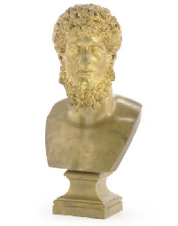 A BELGIAN GILT-BRONZE BUST OF