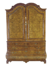 A DUTCH BURR WALNUT LINEN PRES
