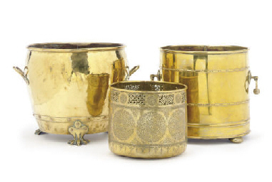 TWO ENGLISH BRASS BUCKETS,