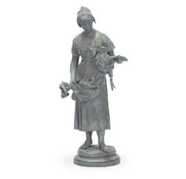A FRENCH GREEN PATINATED BRONZ