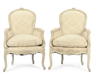 A PAIR OF LOUIS XV PAINTED BER