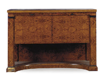 A BURR MAPLE SIDE CABINET,