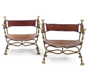 A SET OF FOUR GILT-IRON AND BR