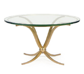 A BRASS AND GLASS COFFEE TABLE