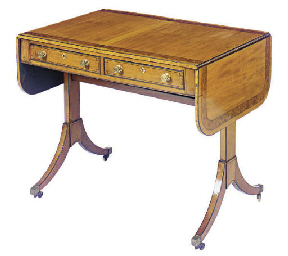 A REGENCY SATINWOOD, EBONIZED,