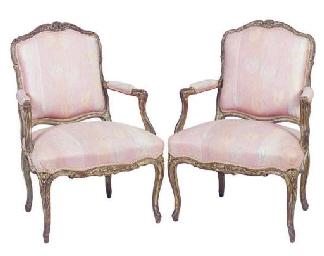 A PAIR OF LOUIS XV GREEN PAINT