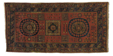 AN EAST TURKESTAN RUG,