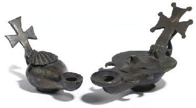 TWO BRONZE OIL LAMPS WITH CRUC
