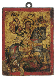A MINIATURE ICON OF ST. GEORGE