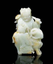 A PALE CELADON JADE 'RAM AND B