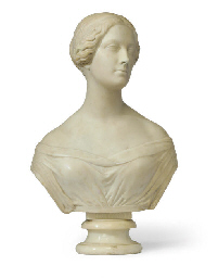 A CARVED MARBLE BUST OF A FEMA