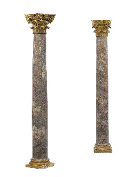 A PAIR OF PARCEL-GILT STONE AN