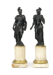 A PAIR OF BRONZE FIGURES OF MA