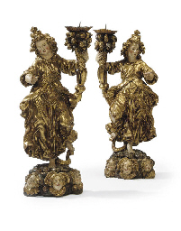 A PAIR OF PARCEL-GILT POLYCHRO