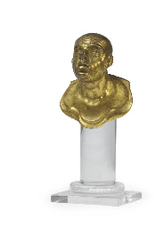 A GILT-BRONZE BUST OF A MAN