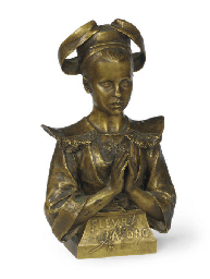 A FRENCH BRONZE BUST OF A GIRL
