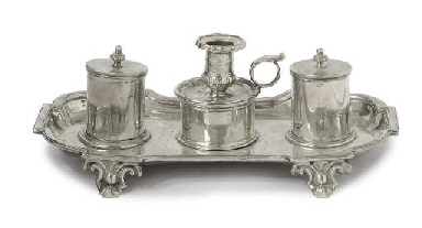 A MILANESE SILVER INKSTAND