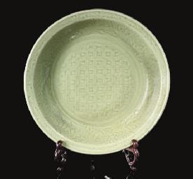 A large Longquan celadon dish,