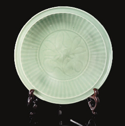 A carved Longquan celadon dish