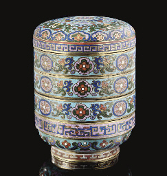 A cloisonne four-tiered cylind