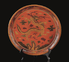 A polychrome decorated circula