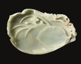 A pale celadon jade brushwashe