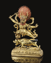 A Tibetan or Mongolian gilt co