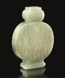 A pale celadon jade moonflask,