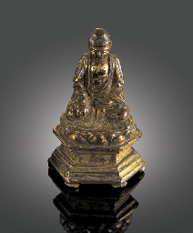 A SMALL DATED GILT-BRONZE BUDD
