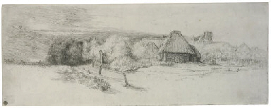 Landscape with Trees, Farm bui