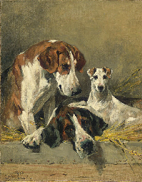 Two Foxhounds and a Terrier in