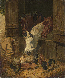 Three Horses at a Barn Door