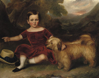 A Boy, seated with his Dandie