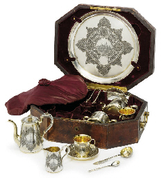 A parcel-gilt niello tea and c