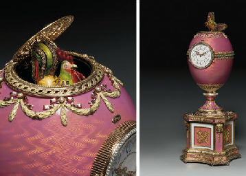 A JEWELLED VARI-COLOURED GOLD-MOUNTED AND ENAMELLED EGG ON PLINTH, INCORPORATING A CLOCK AND AN AUTOMATON