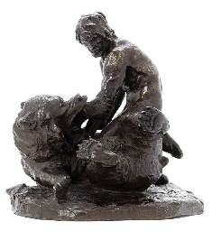 A bronze figure of a man wrest