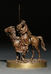 A bronze figure of Cossack far