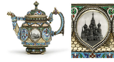 A silver-gilt and enamel tea-p
