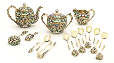 A silver gilt and cloisonné en