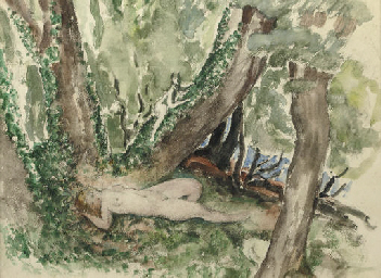 Nude in a forest with satyr