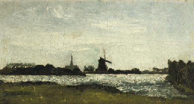 River landscape with steeple a