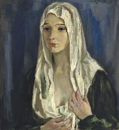 A portrait of a woman wearing