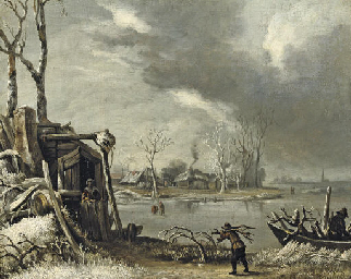 A winter landscape with a fagg