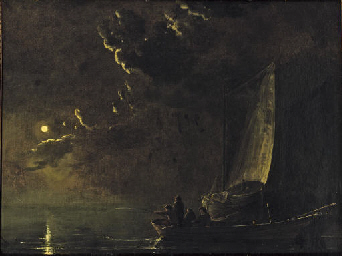 A moonlit landscape with fishe